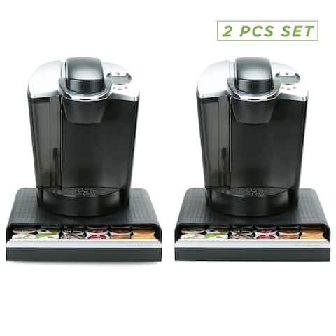 Mind Reader 36 Capacity K-Cup Single Serve Coffee Pod Storage Drawer Organizer - 2 Pack Black