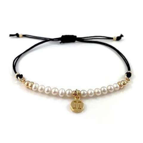 The Curated Nomad Chrissy Handmade Pearl Gemini Birthstone Adjustable Bracelet