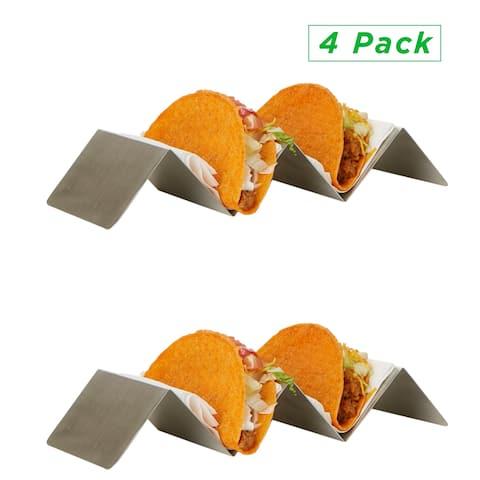 Mind Reader Taco Holder, Taco Serving Tray, Taco Holder, Oven, Grill Safe, Rack Holds Soft or Hard Taco Shells - 4 Pack, Silver