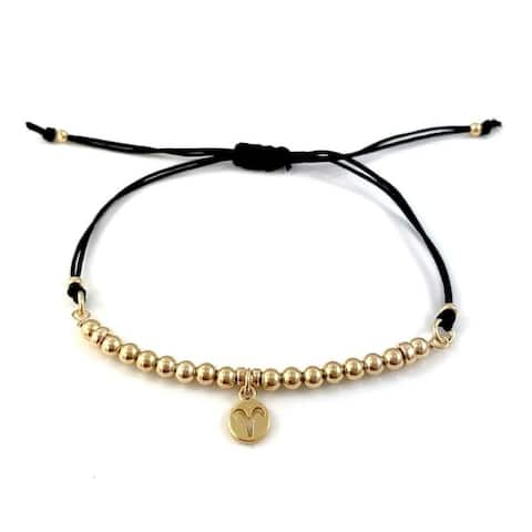 Handmade Aries Zodiac Charm Adjustable Black Cord Bracelet Rebecca Cherry