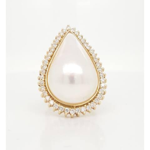 Kabella Pear Shaped Mabe Pearl and Diamonds Ring