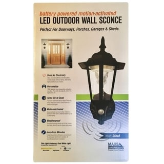 Link to MAXSA Innovations  Motion-Sensing  LED  Black  Outdoor Light Fixture  Battery Powered Similar Items in Electrical