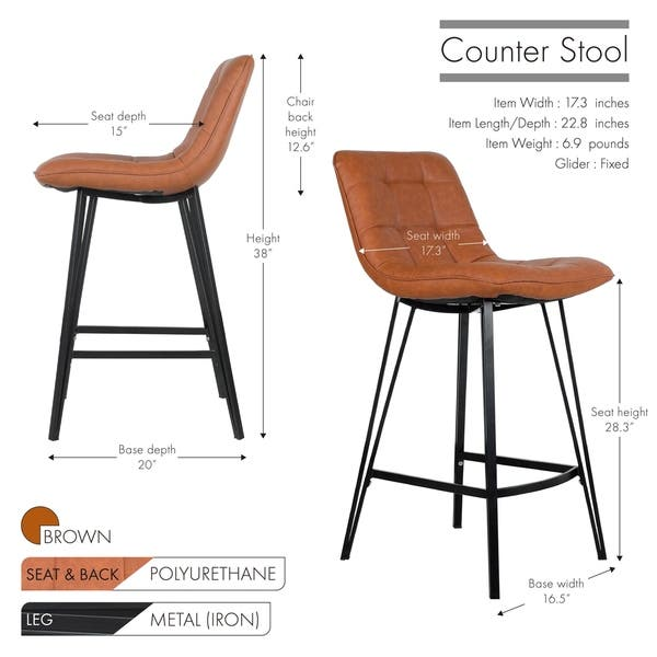 Incredible Shop Porthos Home Taft Leather Counter Stools Set Of 2 Pu Bralicious Painted Fabric Chair Ideas Braliciousco