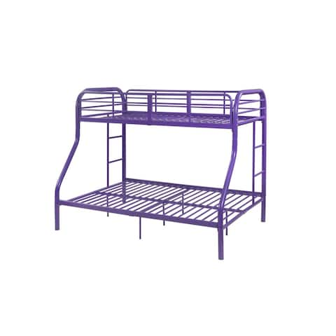 Contemporary Style Metal Twin Over Full Bunk Bed with Two Side Ladders, Purple