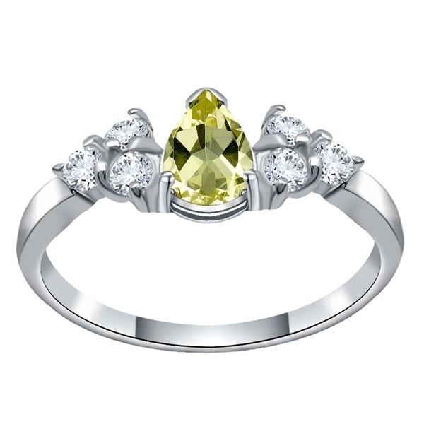 Rings Lemon Quartz Gemstone 925 Silver Jewelry Ring Size-8 Jade White