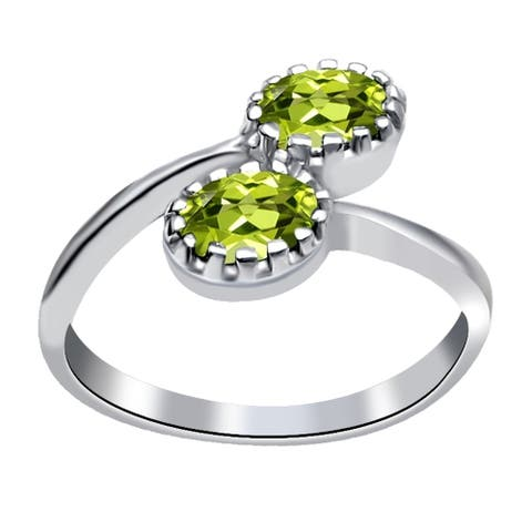 Peridot Sterling Silver Oval 2-Stone Ring by Orchid Jewelry