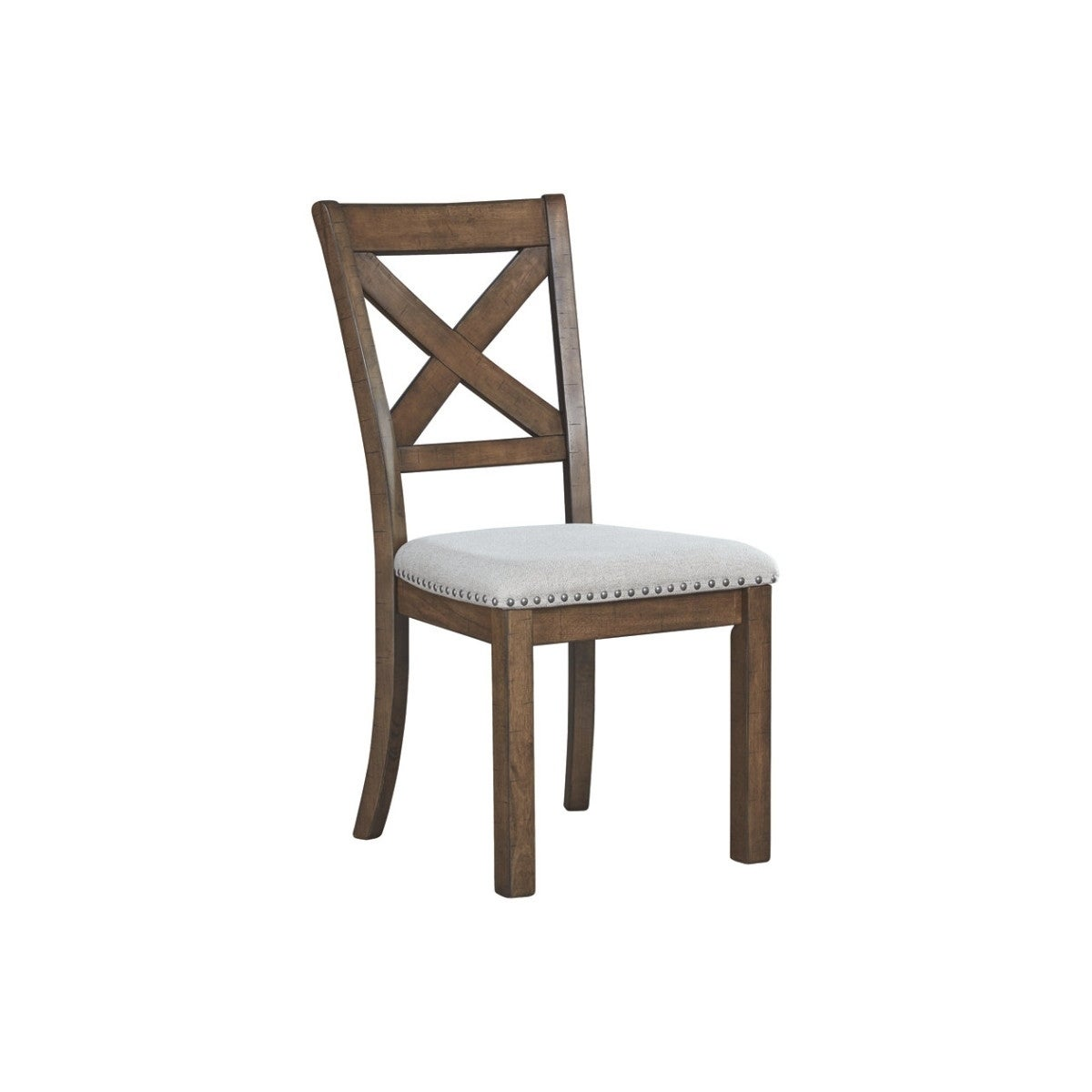 Wooden Dining Side Chair with Polyester Seat and X Back Support, Set of Two, Brown and Beige