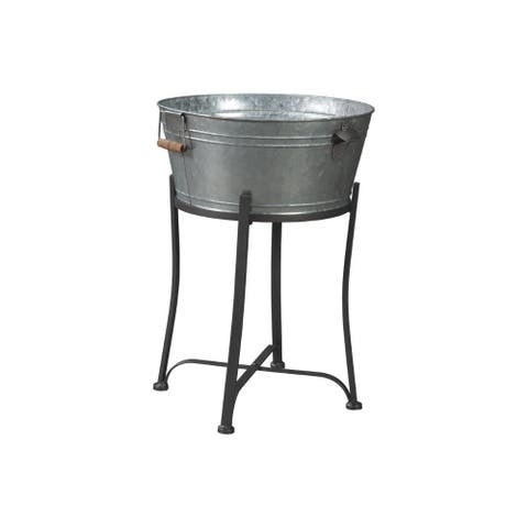 Round Metal Beverage Tub with Wooden Handles and Flared Stand, Galvanized Gray