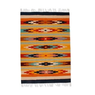 Handmade Wildflowers Zapotec Wool Rug (Mexico) - 4' x 6'