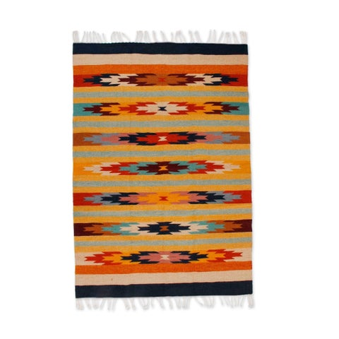 Handmade Wildflowers Zapotec wool rug (4x6) - N/A