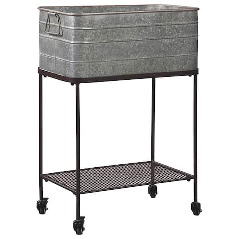 Rectangular Metal Beverage Tub with Stand and Open Grid Shelf, Gray and Black