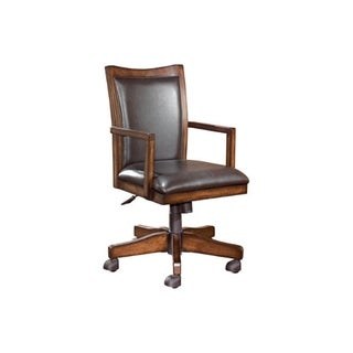 Wooden Swivel Chair with Leatherette Seating and Adjustable Seat, Brown
