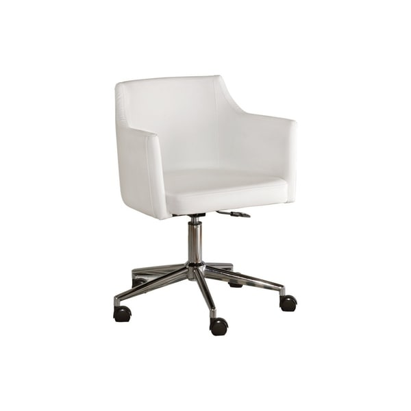 Faux Leather Upholster Metal Swivel Chair with Low Profile Back, White and Silver