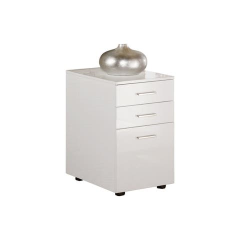 Modern Three Drawers Wooden File Cabinet with Castors, White