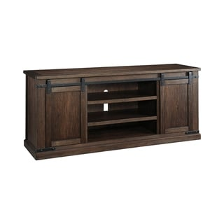 Spacious Wooden TV Stand with Two Sliding Barn Door Storage, Extra Large, Rustic Brown
