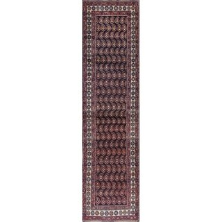 "Vintage Oriental Abrash Persian Hand Knotted Wool Runner Rug - 12'7"" x 3'4"" Runner"