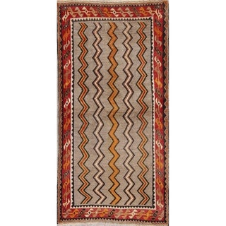 "Vintage Zig-Zag Persian Hand-Knotted Wool Oriental Runner Rug - 6'6"" x 3'4"" Runner"