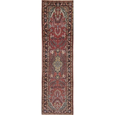 "One-of-a-kind Hamedan Persian Hand Knotted Oriental Runner Rug - 8'10"" x 2'9"" Runner"