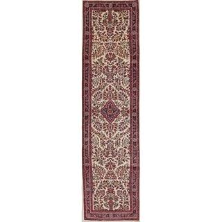 "Vintage Floral Lilian Hamedan Persian Hand Knotted Oriental Runner Rug - 10'6"" x 2'9"" Runner"