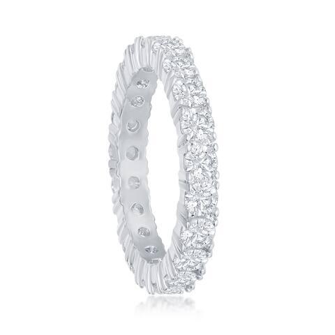 La Preciosa Silver Tone 4mm Cubic Zirconia Eternity Bridal Engagement Band Ring