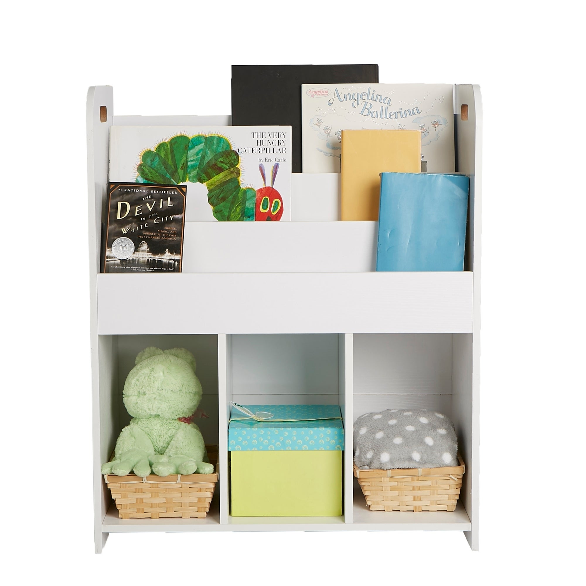 new style 93a46 d14d3 Mind Reader Wood Book Shelf Cubby, Book Organizer with Toy Bins, Kids  Storage Organization, Book Shelf Toy Bin Organizer, White