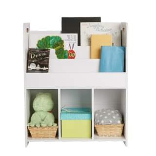 Mind Reader Wood Book Shelf Cubby, Book Organizer with Toy Bins, Kids Storage Organization, Book Shelf Toy Bin Organizer, White