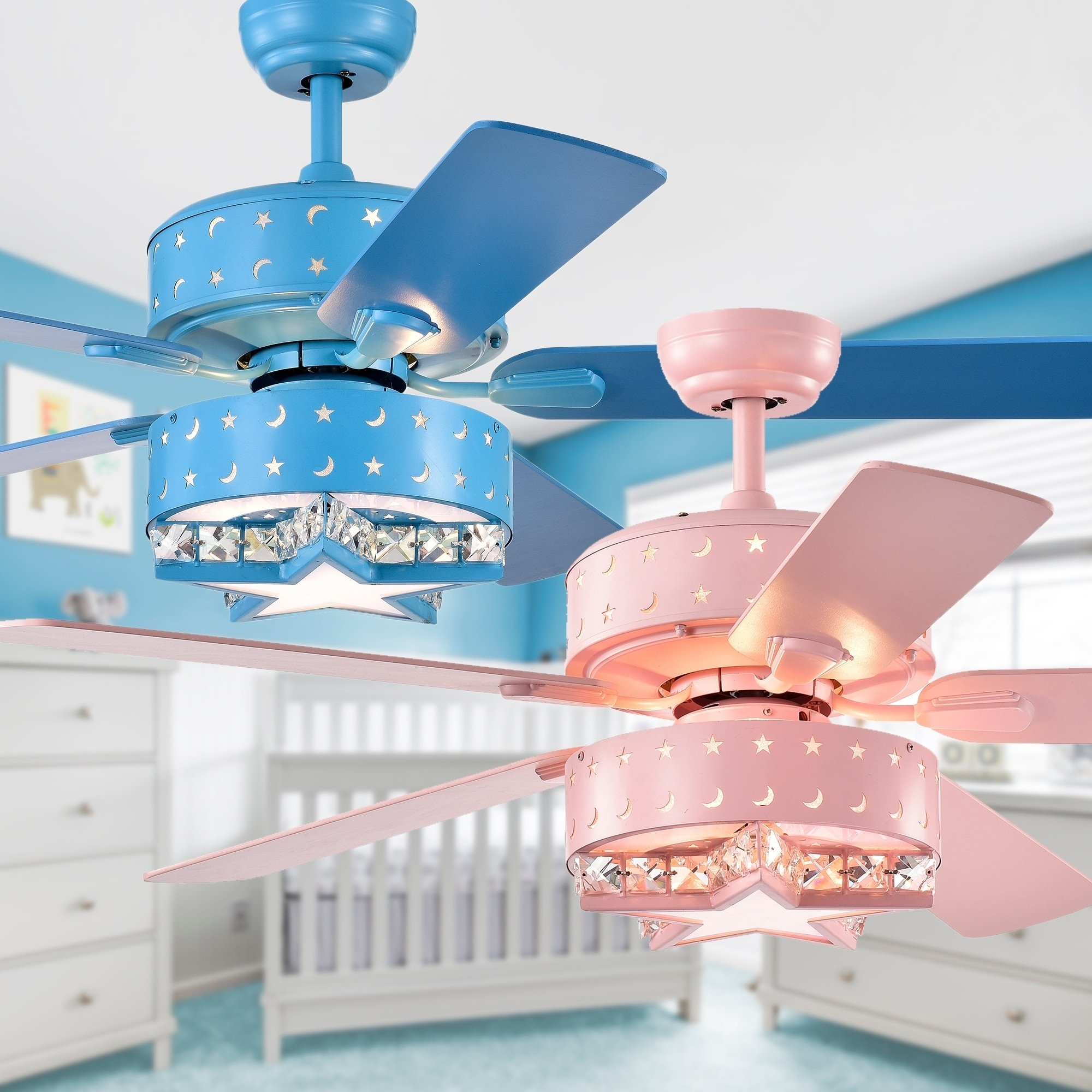 Funder 52-inch Star & Crescent Childrens Room Lighted Ceiling Fan (includes  Remote)