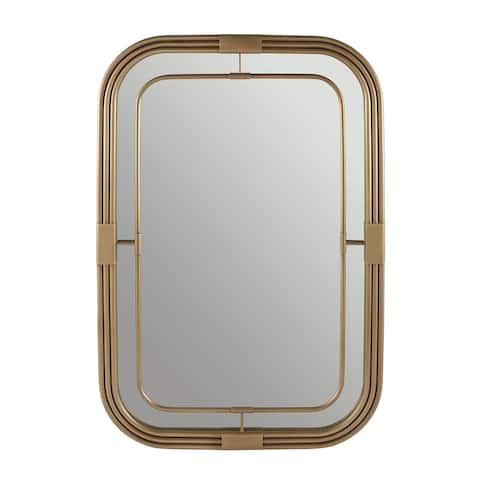Aged Brass Rectangular Decorative Wall Mirror - Aged Brass - Aged Brass