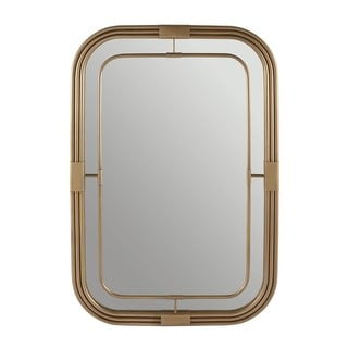 Aged Brass Rectangular Decorative Wall Mirror - Aged Brass