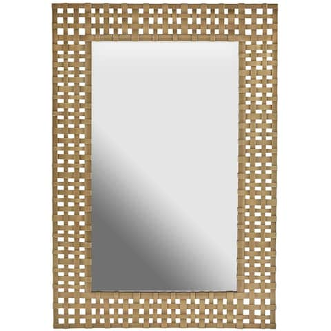 Aged Brass Rectangular Decorative Wooden Wall Mirror - Aged Brass