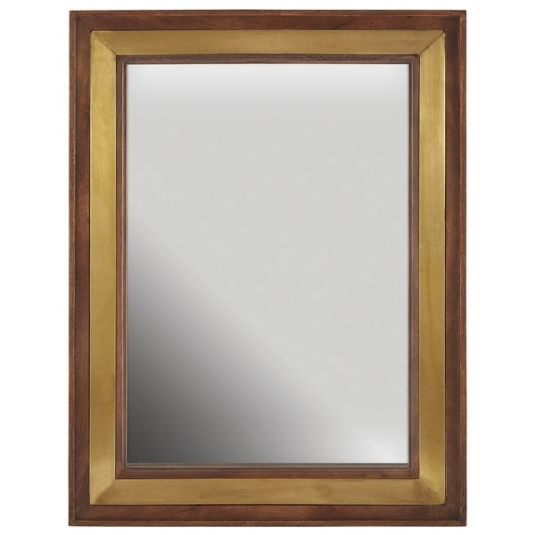 Wood & Brass Decorative Wooden Mirror - Wood & Brass