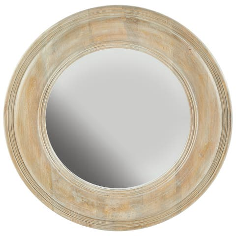 White Washed Wooden Mirror - White Washed Wood with Gold Leaf