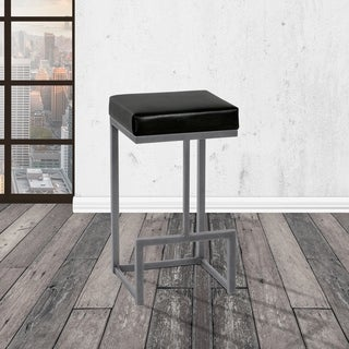Taylor Grey Home Dayton Flint Rock Grey Finish Metal Backless Barstool in Cantina Black Faux Leather Upholstery