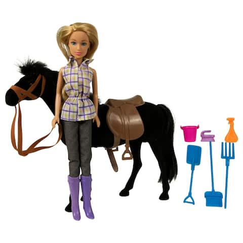 Western Doll and Horse Riding Set - Black