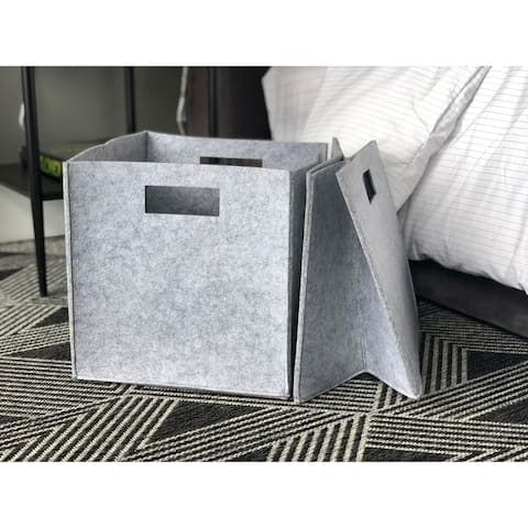 The Curated Nomad Sani Handmade Felt Fabric Storage Cubes (Set of 2)