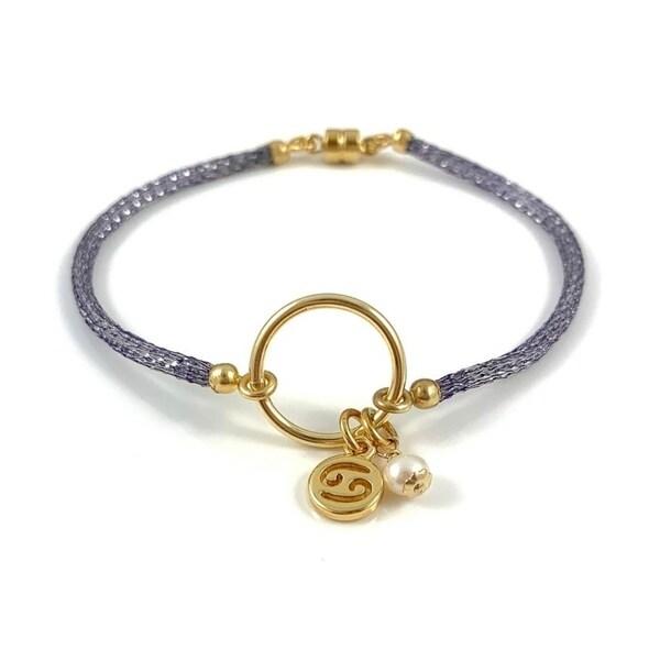 Handmade Cancer Birthstone Zodiac Charm on Lavender Italian Made Cord  Bracelet 7