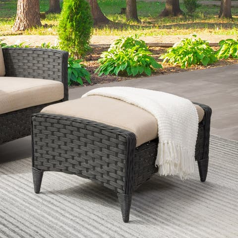 Parkview Wide Rattan Wicker Foot Stool, Charcoal Grey