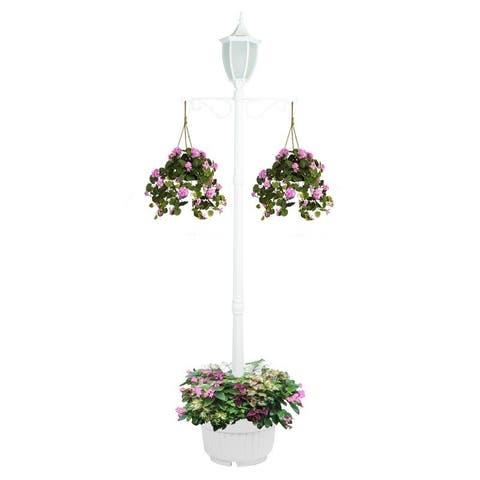 Sun-Ray Crestmont Flaming LED Solar Lamp Post and Planter with Hanger