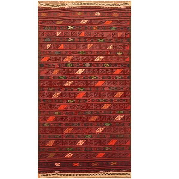 Handmade One-of-a-Kind Soumak Wool Kilim (Afghanistan) - 3'6 x 6'4