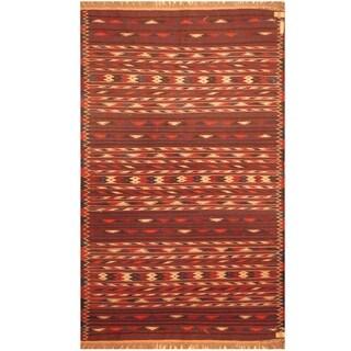 Handmade One-of-a-Kind Wool Kilim (Afghanistan) - 3'10 x 6'4