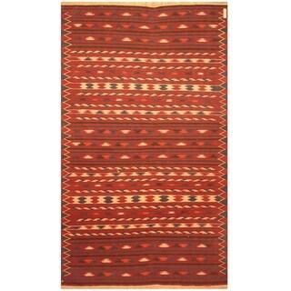 Handmade One-of-a-Kind Wool Kilim (Afghanistan) - 4' x 6'6