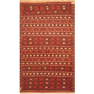 Handmade One-of-a-Kind Wool Kilim (Afghanistan) - 3'10 x 6'3