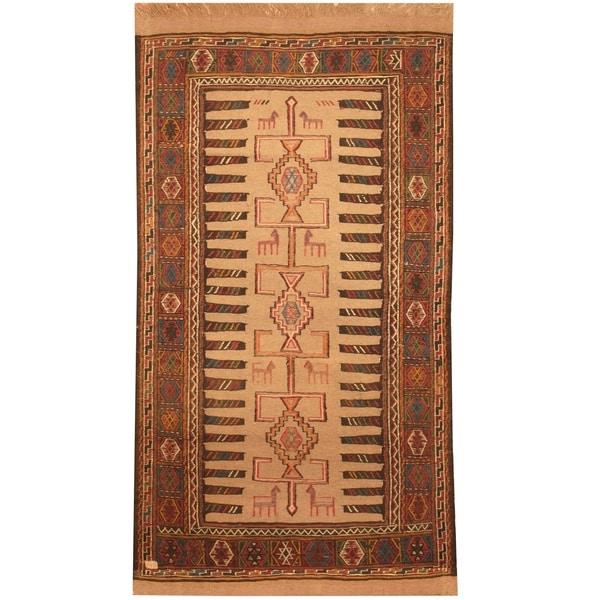 Handmade One-of-a-Kind Soumak Wool Kilim (Afghanistan) - 3'3 x 5'10