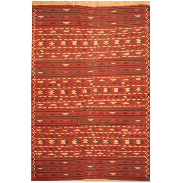 Handmade One-of-a-Kind Wool Kilim (Afghanistan) - 4'2 x 6'4
