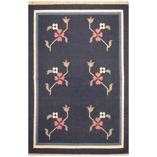Handmade Wool Kilim (India) - 4'2 x 6'1