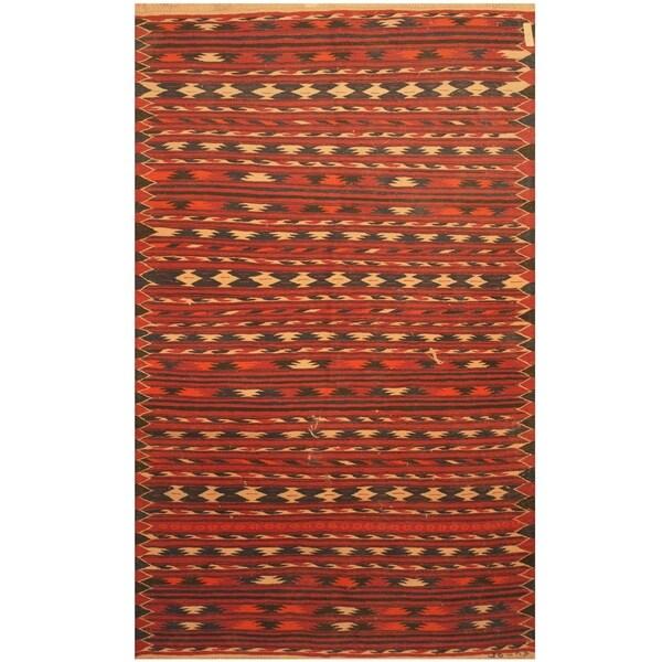 Handmade One-of-a-Kind Mimana Wool Kilim (Afghanistan) - 4' x 6'4