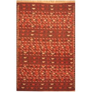 Handmade One-of-a-Kind Wool Kilim (Afghanistan) - 4' x 6'