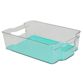 "8"" x 15"" Multi-Purpose Plastic Fridge Bin with Rubber Lining, Turquoise"