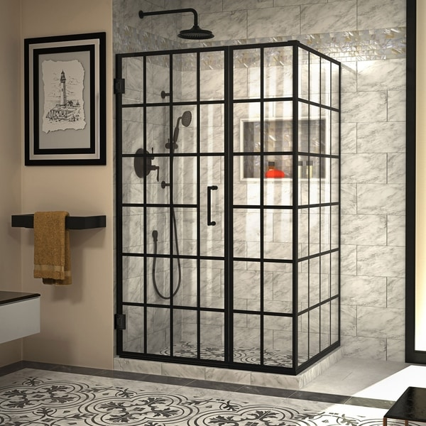 """DreamLine Unidoor Toulon 34 in. D x 46 in. W x 72 in. H Frameless Hinged Shower Enclosure - 34.38"""" x 45.88"""""""
