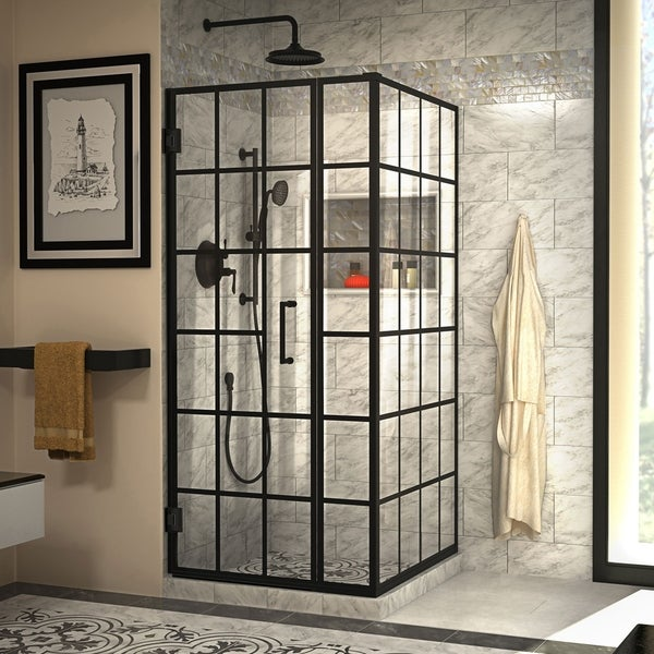 "DreamLine Unidoor Toulon 34 in. D x 34 in. W x 72 in. H Frameless Hinged Shower Enclosure - 34.38"" x 33.88"""